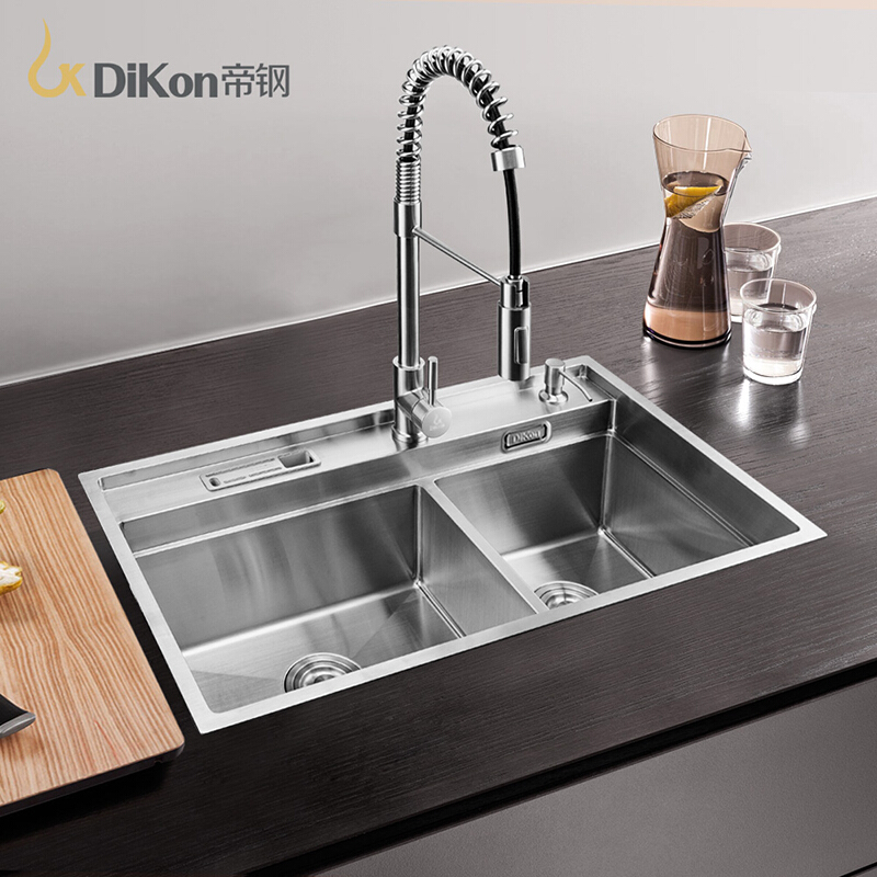 DiKon Kitchen Sink Deluxe 304 Stainless Steel Above Counter Undermount Double Bowl Extra Thick Panel Manual Manual Kitchen Sinks(China (Mainland))