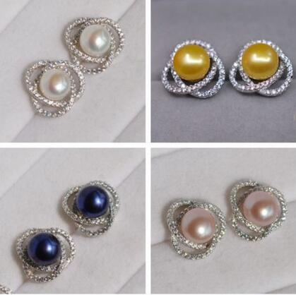 free shipping  Noble jewelry one pairs 9-10mm AAAA+ natural pearl 925s earring