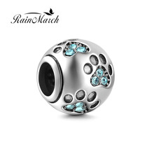 Fits Pandora Bracelets New Design Dog PawPrint Round Beads Original 925 sterling silver Charms with cubic zirconia DIY Jewelry(China)