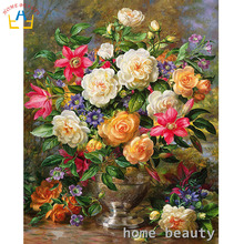 Painting calligraphy diy oil pictures by number classic flowers acrylic coloring drawing by number Modular canvas painting Y104(China)