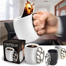 Free shipping Fashion Creative Fisticup Gift with retail box Drinking Cup Ware Bar novelty Gift Coffee Mug Fist Cup Boxing Mugs(China)