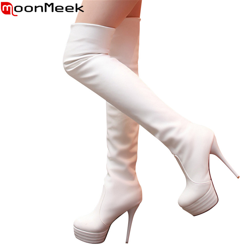2017 New autumn winter women boots soft pu leather platform over the knee boots 13cm stiletto high heels ladies shoes woman<br><br>Aliexpress