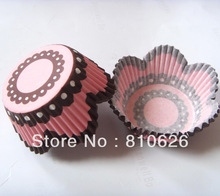 Promotion 100pcs Pink Petal cupcake liner baking cup muffin paper case cup cake wrapper box case mold for Wedding,Valentines day(China)