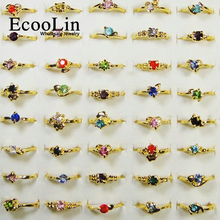 50Pcs Classic Fashion Rhinestone Gold Rings For Women and Girls Cheap Whole Jewelry lots LR119 Free Shipping(China)