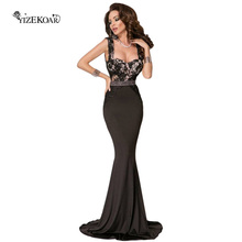 Hot Selling Elegant Maxi Dresses Long Backless Lace V Back Top Floor Length Mermaid Dress For Formal Party Vestidos De Renda