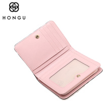 HONGU Coin Purses Small Bag Women Wallets Multicolor Credit Business Card Holder For men Clutch Famous Brand Genuine Leather Bag