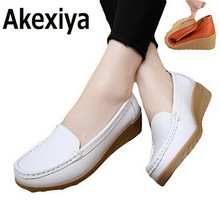 Akexiya Spring Casual Large Size Leather Flat Shoe Mom Shoes Nurse Shoes White Non-Slip Work Comfortable Pregnant Women Shoes