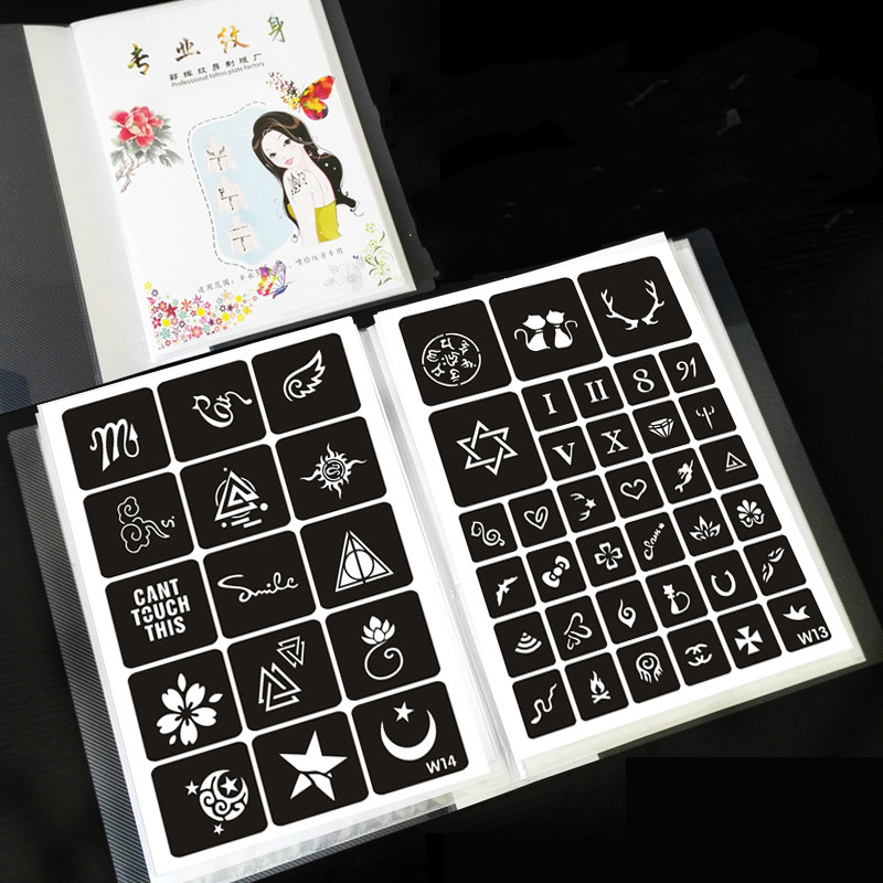 221 Designs Henna Temporary Airbrush Body Stencils Small Figure Animals Flowers Design Glitter Tattoo Stencil of A Book<br>
