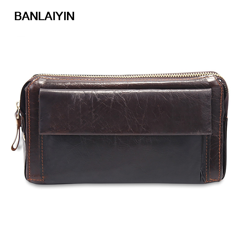 New Brand Mens Clutch Bags Genuine Leather Men Purses Large Capacity Zipper Long Men Card Holder Phone Wallets<br>