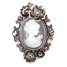 Crystal Rhinestones Flower Encrusted Cameo Brooches in antique silver or gold color plated(China)