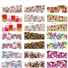 1pcs Colorful Mixed Nail Art Decals Flower Pattern Water Transfer Nail Stickers Full Cover Wraps Manicure Tools TRSTZ372-391