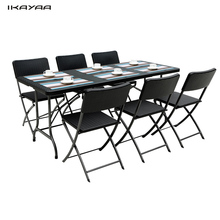 iKayaa US Stock 6FT Patio Furniture Camping Picnic Garden Party BBQ Dining Coffee Kitchen Foldable Table + 6PCS Folding Chair