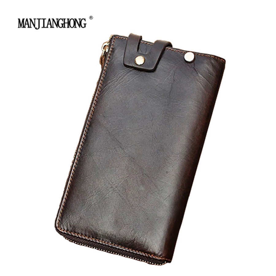 Mens Cow leather long wallets/100% Genuine leather wallets/2 colors can be selected for the card pack/cowhide leather hand bags<br>