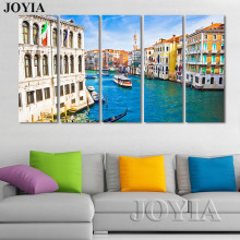 5 Piece Canvas Art Picture Italy Venice Gondolas Painting Canvas Colorful Water City Paintings For Living Room Wall No Frame(China)