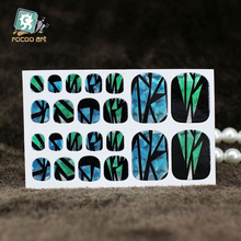 YB010 New Fashion Auto Stick Toe Nail Art Foil Stickers Colorful Crystal Style Blue Green Manicure Adhesive Decal Nail Wraps