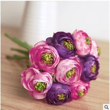 6pcs/ bouquet Real Touch Silk Flowers Simulation Ranunculus Flower Artificial Flowers Bouquet For Wedding Home Table Decoration