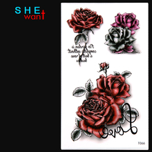 2017 Limited Waterproof Temporary Tattoo Sticker Love Rose Flower Design Flash Women Sexy Arm Shoulder Water Transfer Tattoos