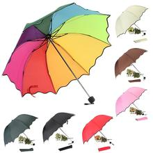 Top Quality Rib Color Rainbow Fashion Long Handle Straight Anti-UV Sun/Rain Stick Umbrella Manual Big Parasol#DJ0047(China)