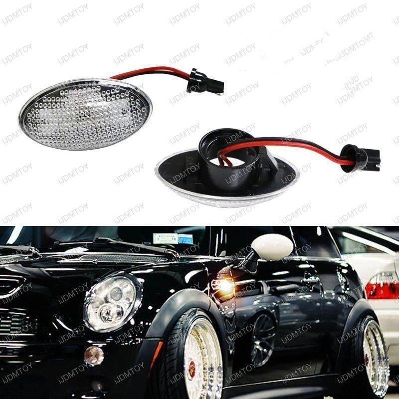 CYAN SOIL BAY Clear Lens Side Marker Light Lamps w/ Amber LED For MINI Cooper MKI R50 R52 R53<br>