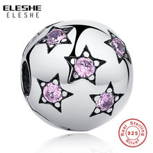 ELESHE Real 925 Sterling Pure Silver Sparkling Pink STATS Clip Charm Bead Fit Original Pandora Bracelet DIY Authentic Jewelry