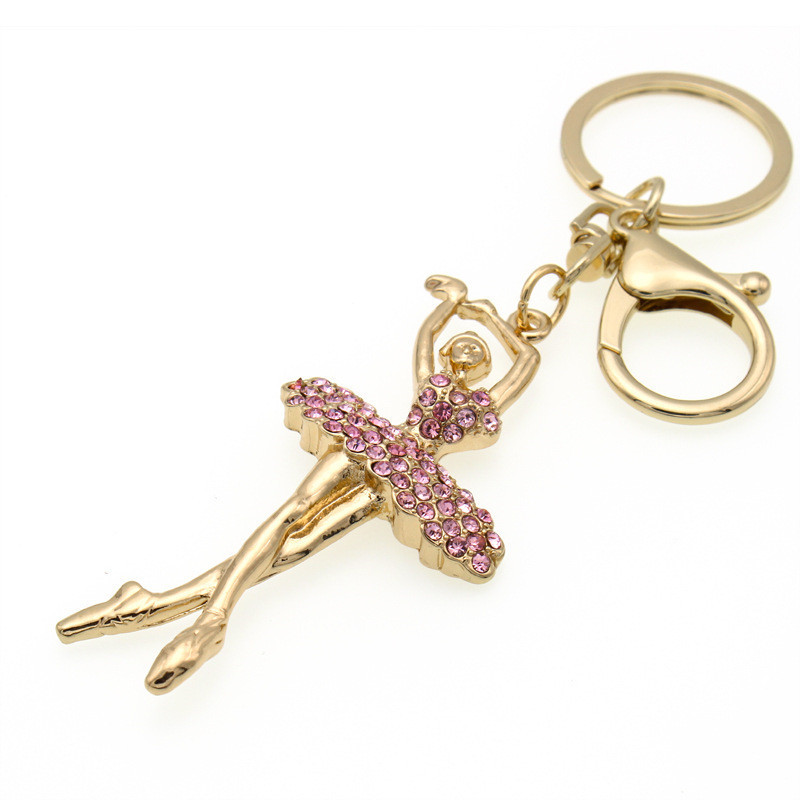 SR:FINEJ 2018 Pink Crystal Key Ring Metal Key Chain Fairy Jewelry Gold Color Ballet Dancer Ballerina Pendant Fashion KeyChains