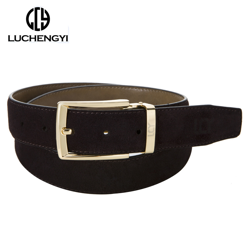 [LCY] Newest Designer Belts Men Luxury Suede Leather Belts for Men Eco-Friendly Pin Buckle Split Leather ceintures homme 350362(China (Mainland))
