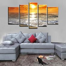 5 Piece Wall Art Abstract Seascape Beach Wave Group Oil Painting On Canvas For Hand Decor Artist Painting Reproductions Picture