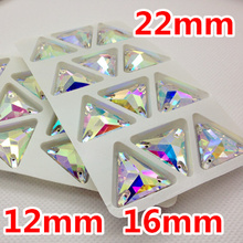 12mm,16mm,22mm Crystal Clear AB Color 3270 tri-angle sew on stone Flatback With 3holes sewing Glass crystal Use For garment