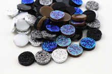 New Fashion 50pcs 12mm Mix Colors Ore Style Flat Back Resin Cabochons Cameo Cabochons Jewelry Accessories Wholesale Supplies(China)
