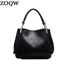 Hot 2017 New Famous Brand Fashion Croco Leather Handbags Design Woman Shoulder Bags Tote Bag High Quality Woman Clutch MB0055(China)