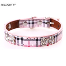 SYDZSW Fashion Plaid Chihuahua Dog Collar PU Leather Puppy Pet Leads Small Dog Necklace for Yorkie Dogs Cats Pet Accessoires