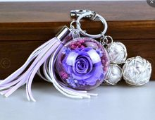 Creative DIY preserved and natural rose Romantic purple series key ring ornaments birthday gift(China)