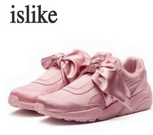 islike Spring Summer Bowknot Female Casual Shoes Round Head Silk Satin Cloth Comfortable Single Pink Shoes(China)