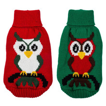 Cartoon Owl Pet dog Jumpsuit Sweater Knitting wearing Coat high neck Christmas Xmas winter puppy Jacket clothers knitted Hoodie(China)