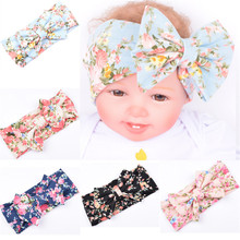 Infant Headband for Girls Soft Cotton bohemia Flower prints Elastic Lace Big Hair Bows Girls Hair Acessories Bow headwrap Kids