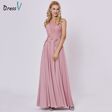 Dressv peach long evening dress cheap scoop sleeveless a line zipper up wedding party formal dress appliques evening dresses(China)