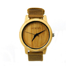 For OKWISH Wooden Watch Unique Real Hand Crafted Style Natural Wood Leather Adjustable Band(China)