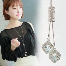 Fashion winter pendant sweater chain sweater necklace Fine jewelry Crystals from Swarovski female clothes hanging 925 jewelry(China)