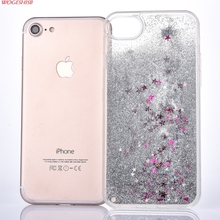 NEW Dynamic Water Liquid Star Quicksand Phone Case Transparent Plastic +Tpu Edge Cover for iPhone SE 5 5S 6 6S 7 7S & Plus