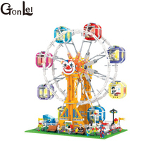 GonLeI 1506pcs City Series Girl Friends Modern Paradise Ferris wheel With Lighting series Building Block Toys Christmas gift7036(China)