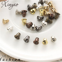 200pcs/lot Gold/Silver Color Metal Bullet Earring Back Plugging Blocked Rubber Back DIY Earrings Jewelry Making Accessories F21