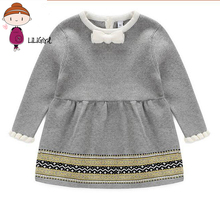 Princess Warm Dress Newborn Sweater Dresses Clothes Baby Girl Soft Cotton Knit Dress Infant Christmas Elegant Party Dresses New(China)