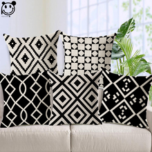 PEIYUAN Decor Home Cushion Cover Wholesale High Quality Black and White Geometric Shapes Throw Pillow Cover for Sofa Bed(China)