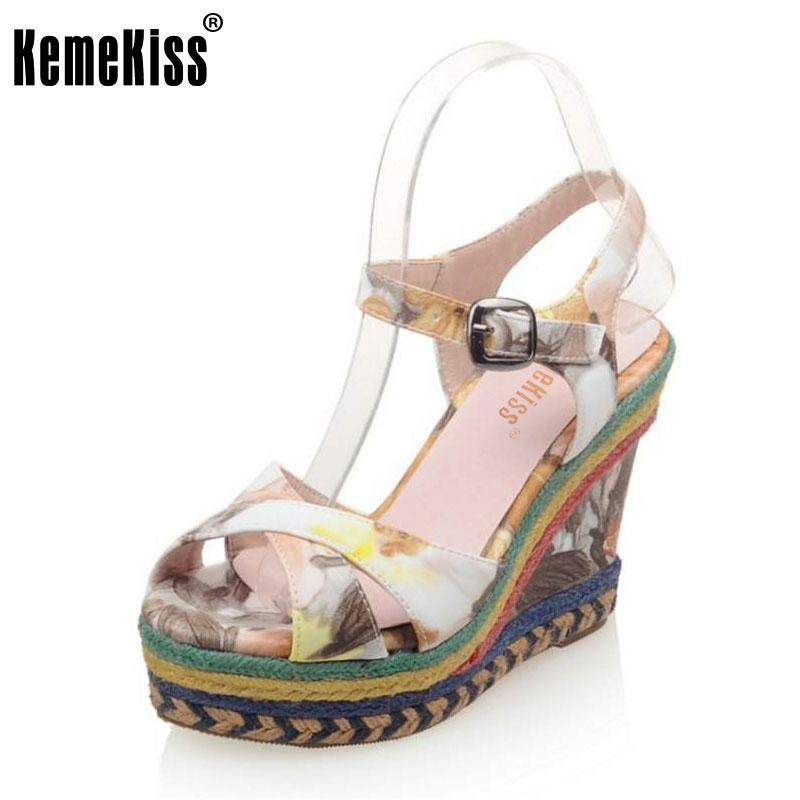 KemeKiss women mixed color sandals sexy wedges high heels footwear party shoes open toe fashion women sandals size 32-43 PC00031<br>