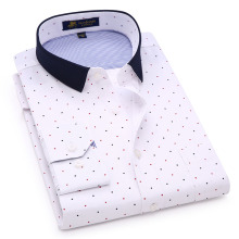 Buy Men's Long Sleeve Mini-polka Dot Pattern Dress Shirt Patch Chest Pocket Regular-fit Contrast Collar Casual Floral Print Shirts for $12.99 in AliExpress store