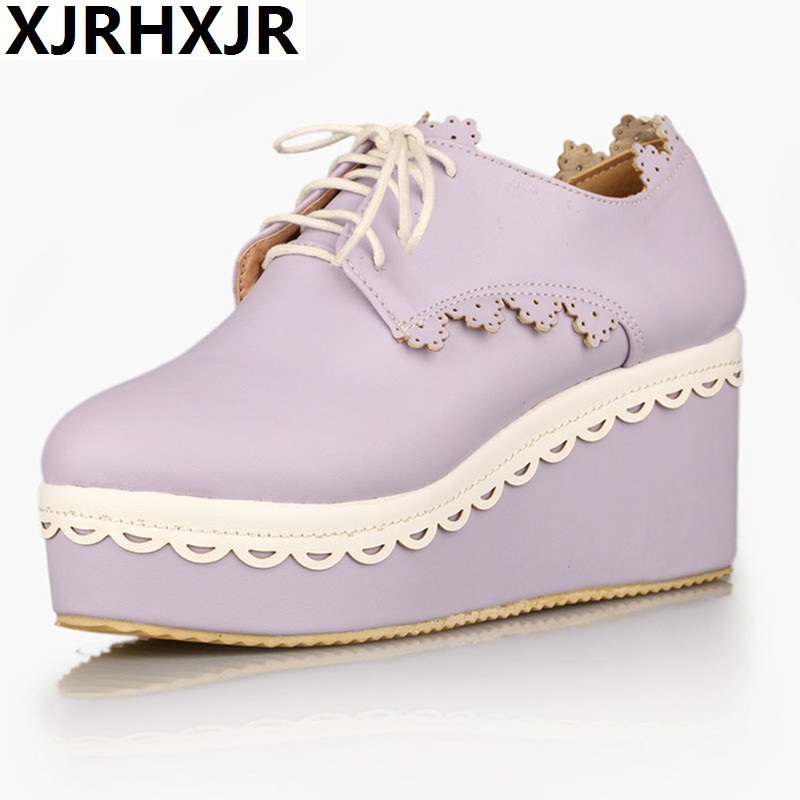XJRHXJR Beige Blue Pink Purple Sweet Lace Shoes Woman Platform High Heels Women Wedges Fashion Lolita Cosplay Shoes Size 33-42<br>
