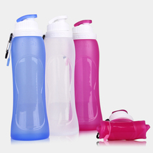 500ML Creative Portable Silicone Foldable Water Bottle Travel Sport Cycling Flexible Collapsible Top Grade Kettle Drinkware