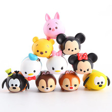 10pcs/set Cute Doll Tsum Tsum Mickey Minnie Donald Duck Daisy Chip Dale Goofy Pluto Bear Piglet PVC Figures Toys For Kids Gift