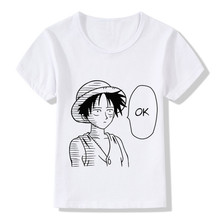 Boys/Girls Print Luffy/Naruto/Goku/One Punch Man Say Ok Funny T-shirts Baby Kids Summer Tops Tees Children Anime Clothes,HKP5068(China)