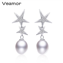 VEAMOR Hot Sale 925 Sterling Silver Double Star Earrings for Woman Pearl Long Dangle Earrings Trendy Style Fashion Accessories(China)